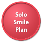Solo Smile Plan on a red circle against a black background